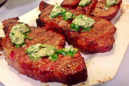 Traeger Steak with Herb Butter